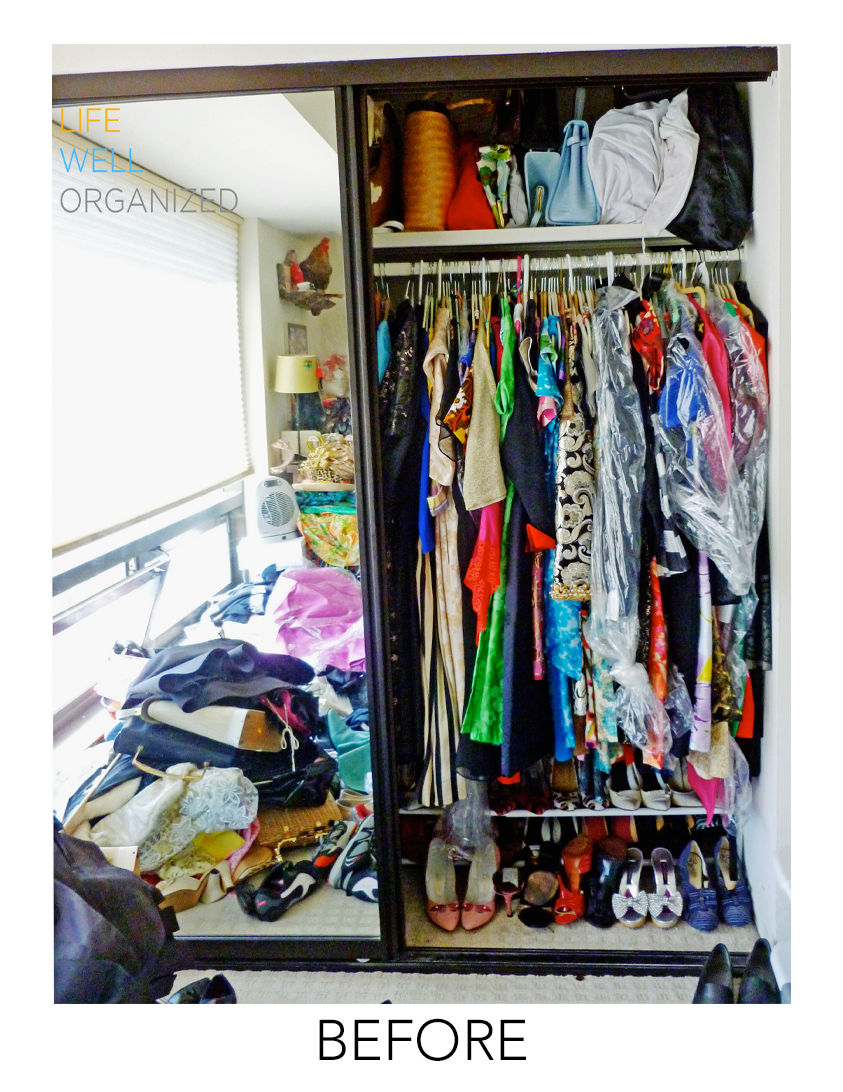 Life Well Organized: Vintage Couture Closet Before